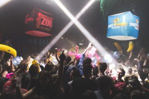 Clubbers at Party Hard at the Zoo event in Ayia Napa with balloons and Inflatables