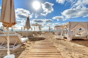 Sun loungers and Parasols at Ushuaia Ibiza Beach Hotel in Sant Josep de sa Talaia