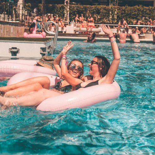 girls in ibiza rocks pool on flamingo 2019