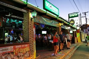 outside of scorers pub on kavos strip