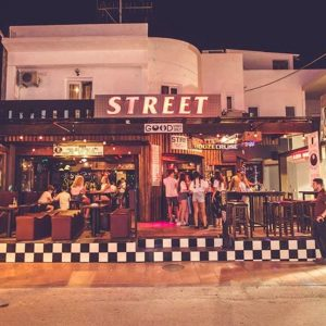 nighttime outside street bar in malia