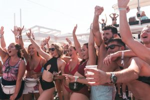 passengers partying on sunset booze cruise magaluf