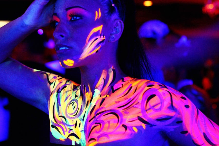 Girl neon-ed up at the UV Paint Party in Sunny Beach