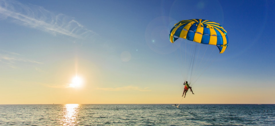 watersports in sunny beach - paragliding