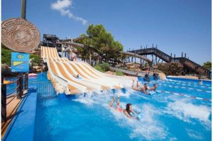 western waterpark people going down slides magaluf