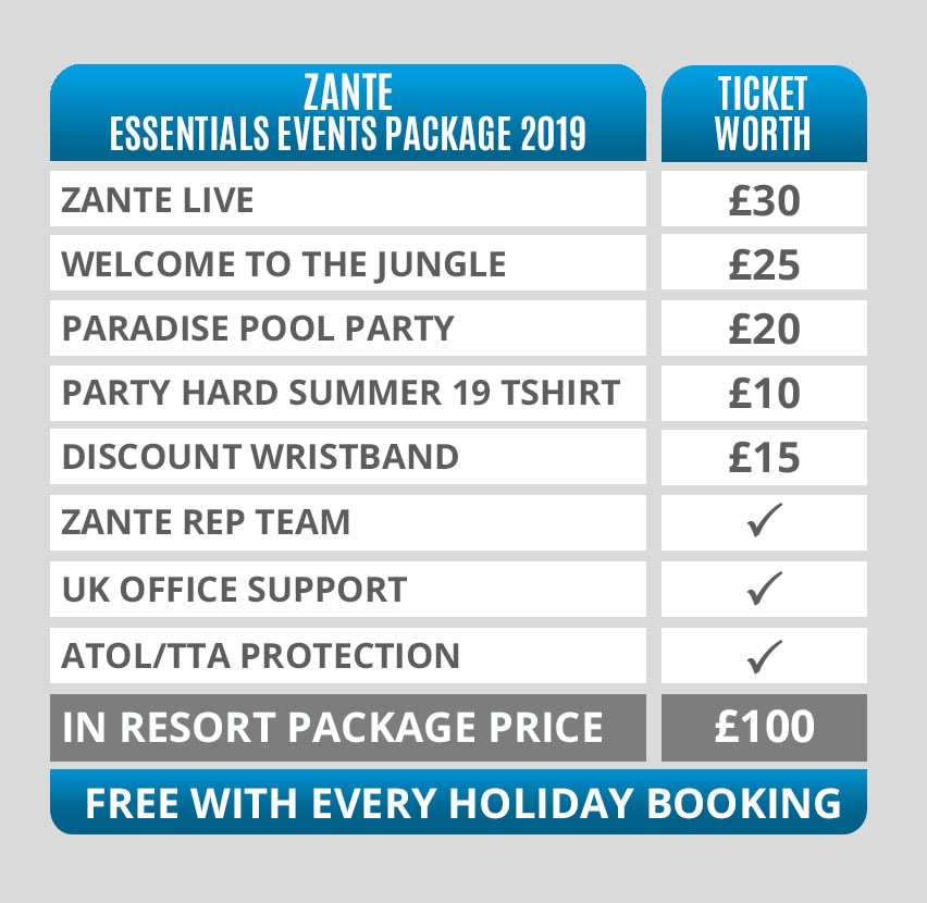 Zante Essentials Events Packages Pricing Table 2019